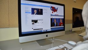 A computer screen with the U.S. presidential candidates on Twitter and Youtube