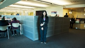 Sandra Tassone standing in the learning commons at Guelph-Humber