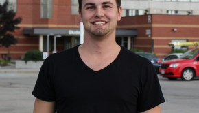 Drew Brooks, Humber College student shown in front of the campus