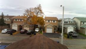Houses on a street.