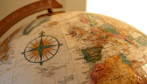 A zoom-in of the side of a globe.