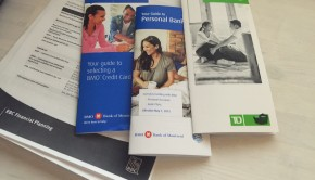 Pamphlets from RBC, TD and BMO on money management and financial planning
