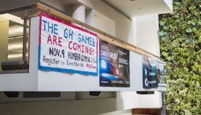 """poster of the GH games hanging on the balcony """"THE GH GAMES ARE COMING! NOV.9 HUMBER GYM"""""""