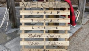 The rustic, homemade sign that greeted visitors to the Urban Sugar Shack at the Humber arboretum.